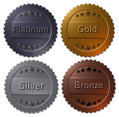 Zestaw czterech medali renderowanych w 3D, platynowe złoto, srebro i brąz. Zwycięzca metalowych odznak, pieczęci lub guzików