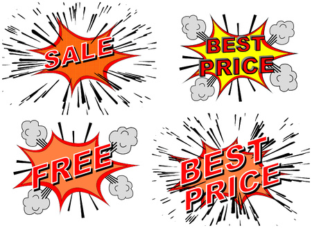 A set of 4 cartoon type of explosions that is aimed at using for businesses who wants to announce a sale, a best price offer and a free giveaway Stok Fotoğraf