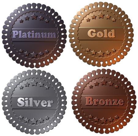 Conjunto de cuatro insignias metálicas ganadoras 3D, sellos o botones. Medallas en 3D, platino, oro, plata y bronce. Foto de archivo