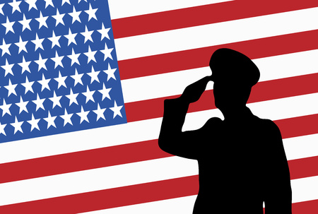 Remember and Honor on Memorial Day USA. Illustration of soldier saluting. Silhouette of a military officer. Stock Photo