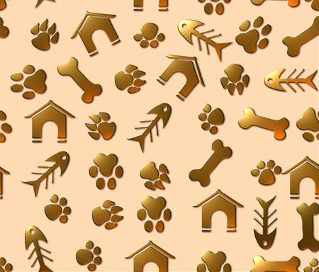 Pet theme seamless pattern with animal paw footprints, fish bones, pet houses and bones