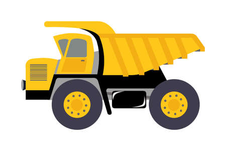 A flat illustration of a yellow mining dump-truck isolated on a white background.