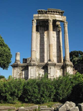 Ancient columns - Ruins of the Roman Forum  Foro Romano  in Rome, Italy photo