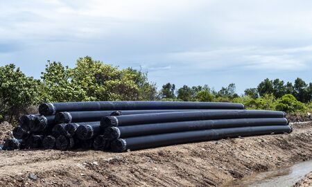Big HDPE Pipe prepare to lining into water supply fluid system, horizontal image