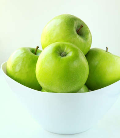 apple tart: Stylish green Granny Smith apples Stock Photo
