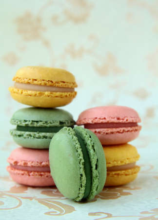 traditional french dessert  colorful macarons  photo