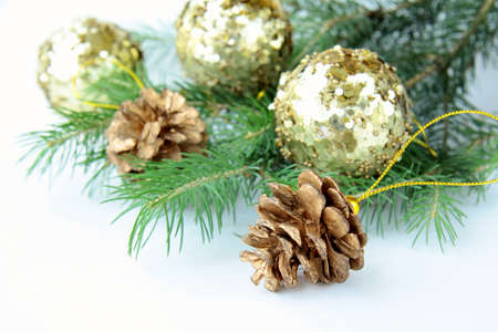 New Year s tree fir with Christmas decorations photo