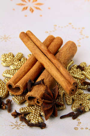 stick of cinnamon: stick cinnamon, anise and cloves - Christmas spices