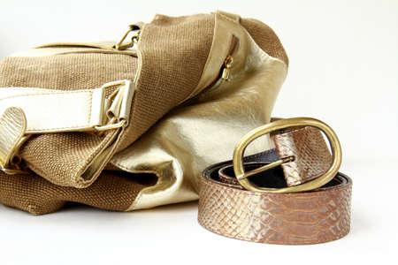 female decorative gold bag and a stylish belt photo