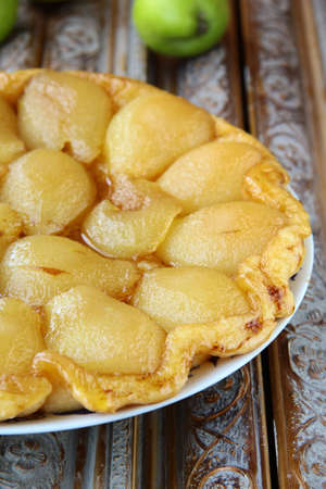 apple tart: French traditional pie Tarte Tatin with pears