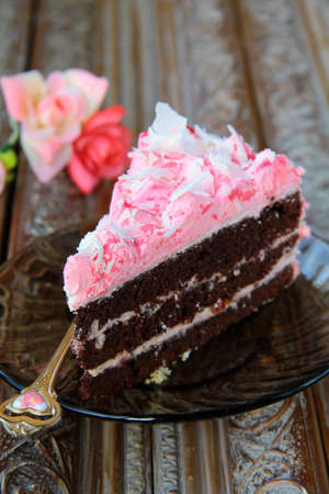 sinful: Delicious colorful chocolate piece of cake on the plate