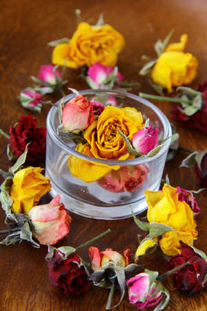 Dried rose hipson on a wooden  table  photo