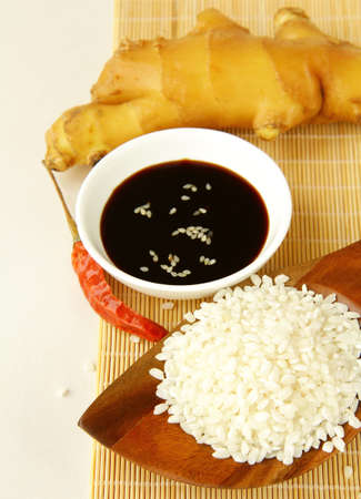 sause: traditional asian ingredients uncooked rice, ginger, garlic, soy sause