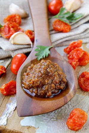 sauce red pesto of dried tomatoes photo