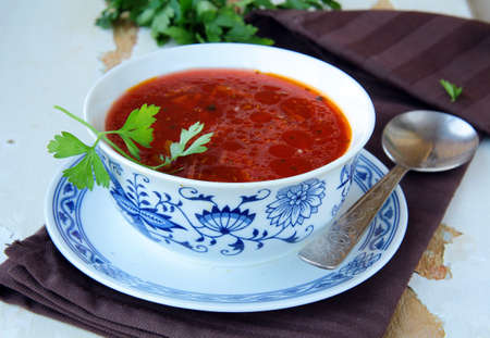 traditional Russian ukrainian borscht soup photo