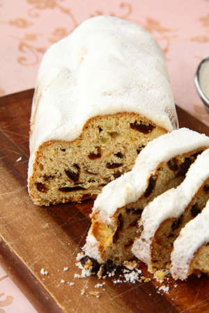 Traditional homemade stollen with dried fruits photo
