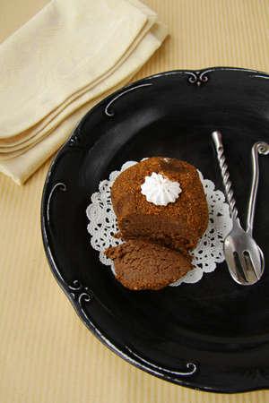 A piece of chocolate cake with vanilla cream Stock Photo - 11549774
