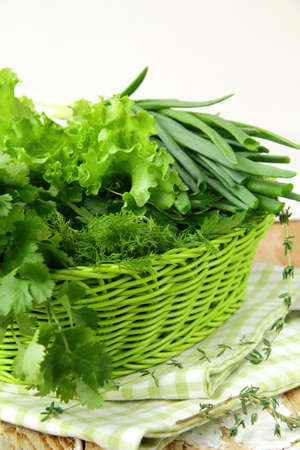 fresh green grass parsley dill onion herbs mix photo