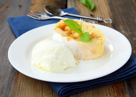 biscuit roulade with  ice cream photo