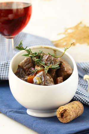 Boeuf bourguignon  - Traditional french beef goulash  photo