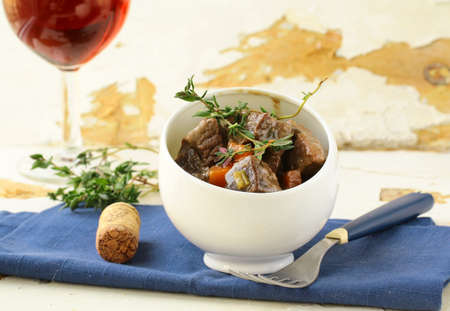Boeuf bourguignon  - Traditional french beef goulash  photo