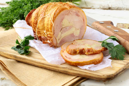 Smoked chicken delicious  roulade and herb Stock Photo - 11958605