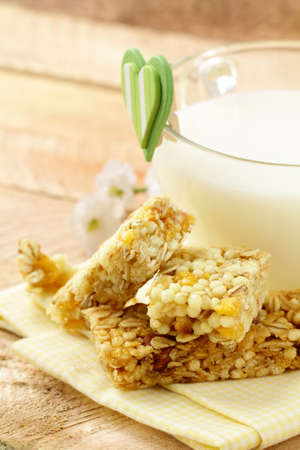 breakfast of muesli bars and milk Stock Photo - 12185384