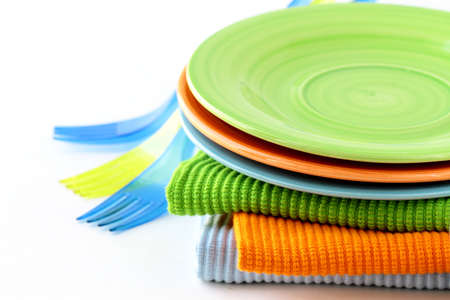 colorful plate  and napkins for picnics  photo