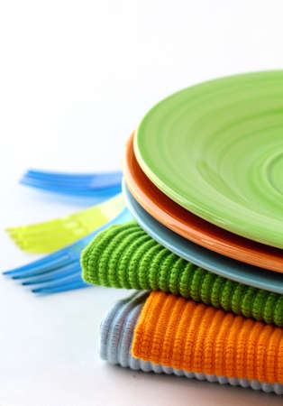 throwaway: colorful plate  and napkins for picnics