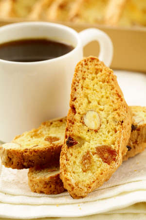 italian ethnicity: traditional Italian biscotti cookies with almonds
