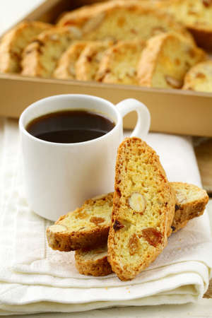 traditional Italian biscotti cookies with almonds photo