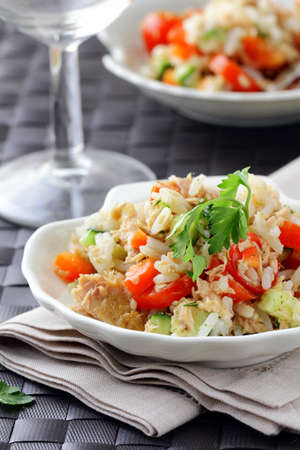 salad with rice,  vegetables and tuna