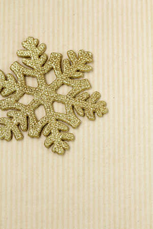 New Year and Christmas background with  gold snowflake  photo