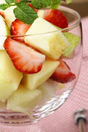 fruit salad in glass goblets on the table Stock Photo - 13953631