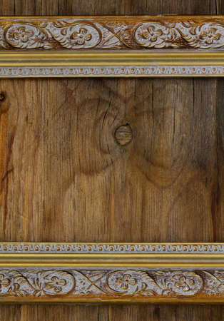 vintage frame on wooden wall interior element photo