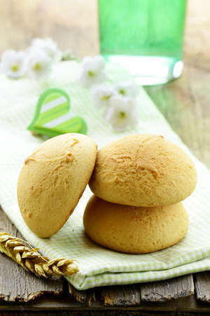 round biscuits on a wooden table photo