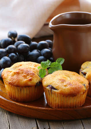 homemade fruit cupcakes on the wooden plate Stock Photo - 15042264