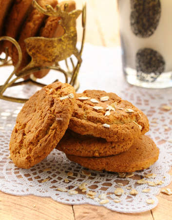 ifestyle: oat cookies biscuits and a glass of milk