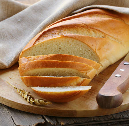 fresh white loaf of bread , rustic style Stock Photo - 15641464