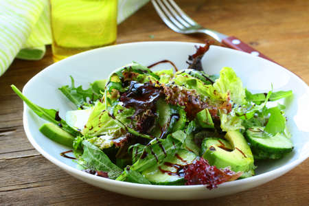 balsamic: salad mix with avocado and cucumber,  with balsamic dressing