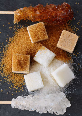 different types of sugar - brown, white and refined sugar Stock Photo - 15890638