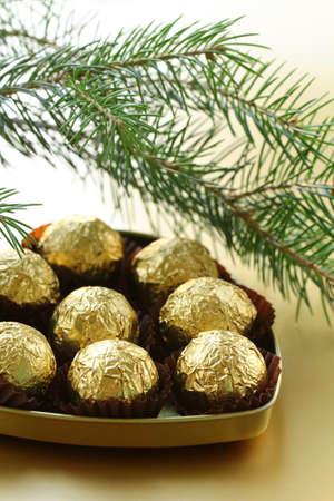 trufas de chocolate: trufas de chocolate en una caja de regalo bajo el �rbol de Navidad