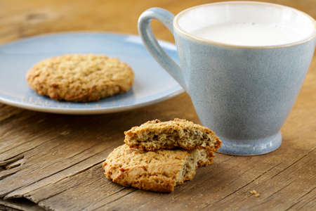 ifestyle: oat cookies biscuits and cup of milk
