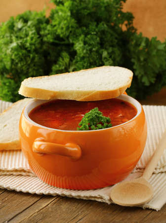 traditional Russian Ukrainian food soup borscht  photo