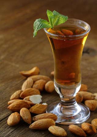 amaretto: Almond liquor amaretto with whole nuts