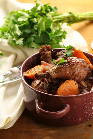 vin: chicken in wine, coq au vin - traditional French cuisine