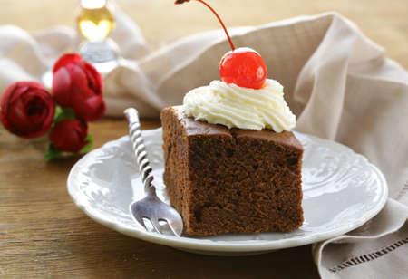 chocolate birthday cake with cherries and whipped cream Stock Photo - 17083891
