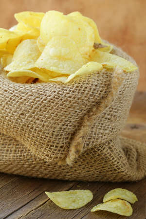 natural organic potato chips in a linen bag Stock Photo - 17241459