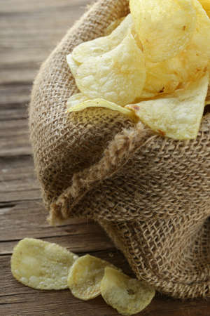 natural organic potato chips in a linen bag Stock Photo - 17309094