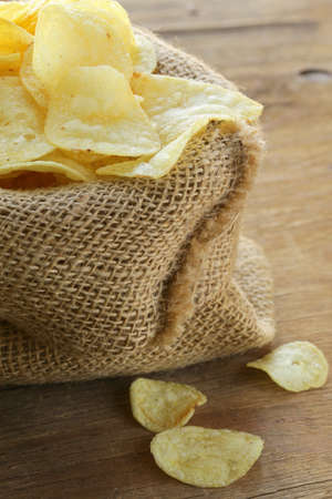 natural organic potato chips in a linen bag Stock Photo - 17309120